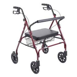 Drive Medical - Bariatric 4 Wheel Go-Lite Steel Frame Rollator - Red