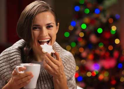 Woman Eating During Holidays
